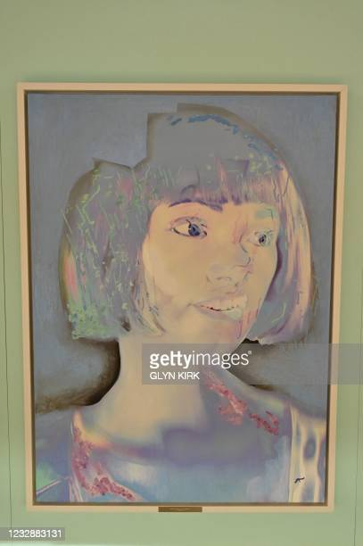 Self-portrait created by the worlds first ultra-realistic AI robot artist, Ai-Da, who can draw, paint and is a performance artist, is pictured during...