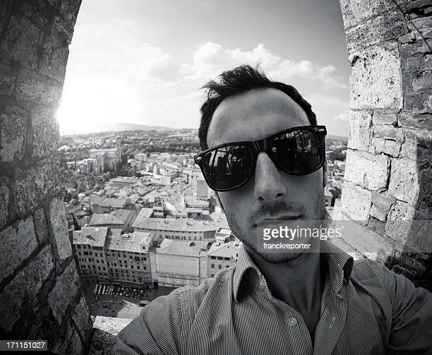 Selfportrait from the Mangia Tower in Siena at dusk