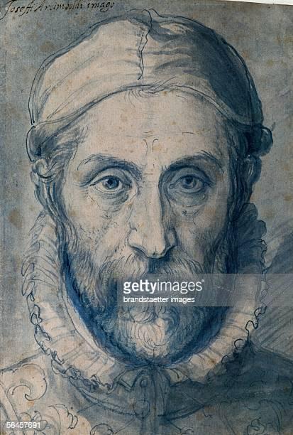 Selfportrait of Arcimboldo 1575 Pen and blue pencil on paper 23 x 157 cm [Arcimboldo Selbstportrait Zeichnung 1575]