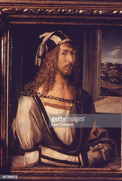 Selfportrait of German painter Albrecht Durer in a carved wooden frame