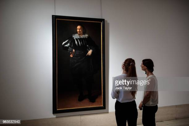 'Selfportrait of Giorgione' by Antonio Canova expected to sell in the region of £1 million sits on a wall as gallery workers prepare to hang other...