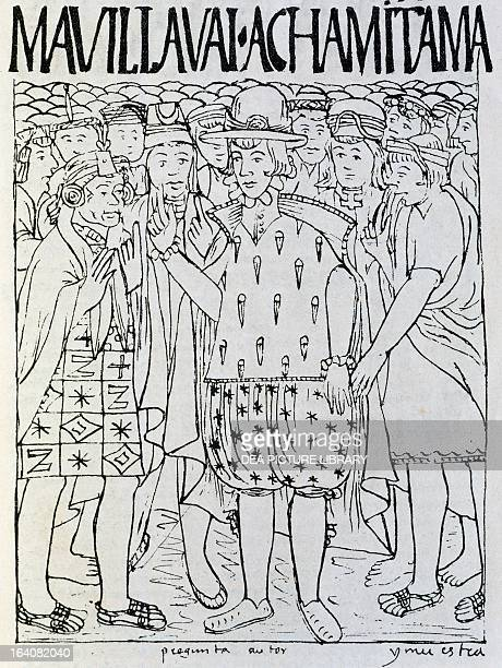 Selfportrait of Guaman dressed as a Spaniard as he questions the elders about the history of his ancestors Peru engraving from The first new...