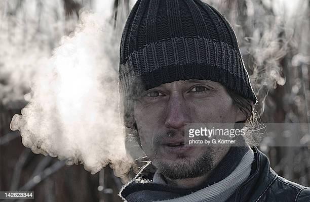 Self-portrait of man in winter