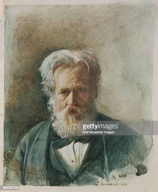 Selfportrait of painter Rudolf von Alt Watercolour5 x 279 cm Christmas 1890 [Selbstportrait Rudolf von Alt Aquarell 355 x 279 cm Weihnachten 1890]