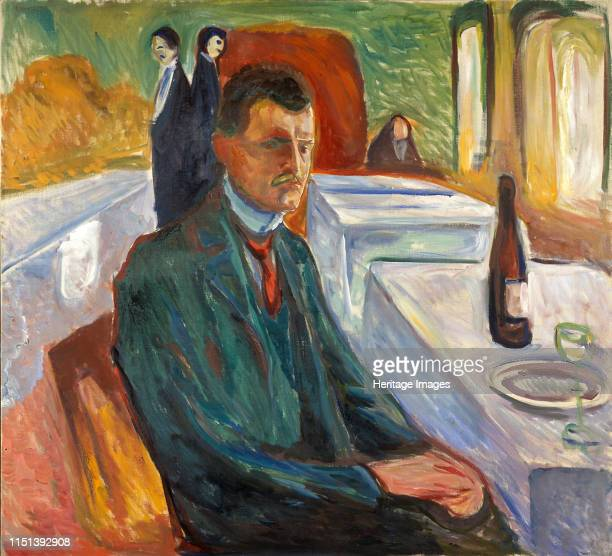 Self-Portrait with a Bottle of Wine. Found in the collection of Munch Museum, Oslo. Artist Munch, Edvard .