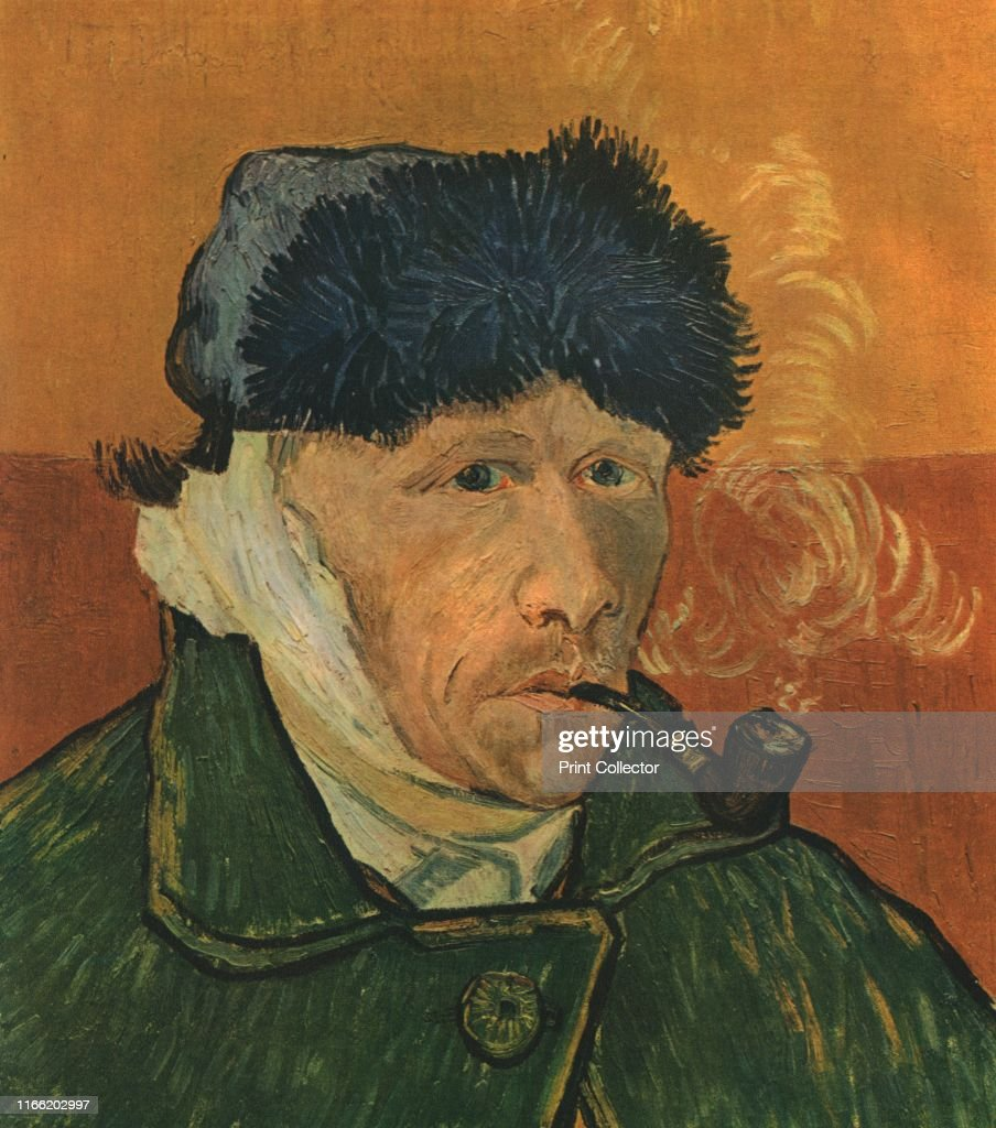 Self-Portrait With Bandaged Ear And Pipe : News Photo