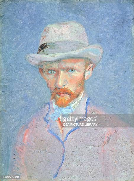 SelfPortrait with gray felt hat 18871888 by Vincent van Gogh oil on cardboard 42x34 cm Amsterdam Van Gogh Museum