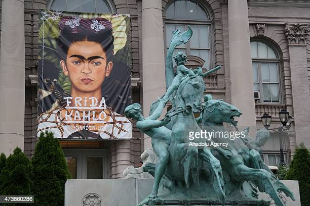 'SelfPortrait with Thorn Necklace and Hummingbird' hanged at front of the New York's Botanical Garden during the exhibition Frida Kahlo Art Garden...