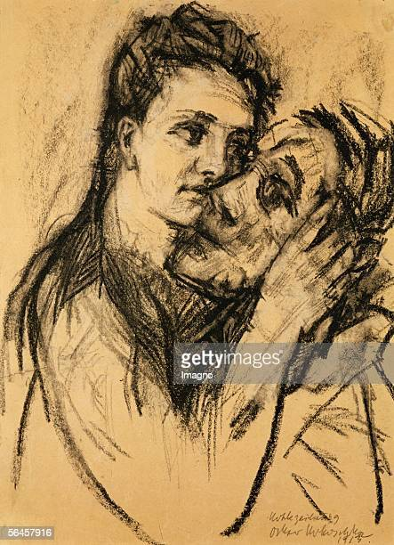 Selfportriat with lover Selbstbildnis mit Geliebter Coal and black chalk on paper 1913 438 x 313 cm [Selbstbildnis mit Geliebter Zeichnung1913 438 x...