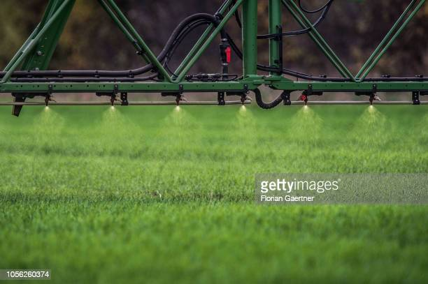 A selfpropelled rowcrop sprayer is pictured on November 01 2018 in Doebern Germany