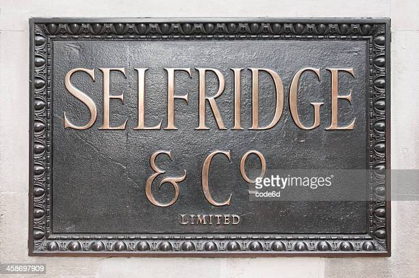 Selfridge and Co department store nameboard in London
