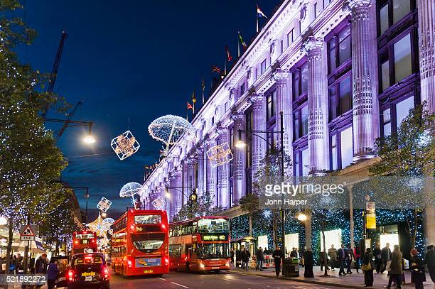 selfridges at christmas, oxford street london. - rua oxford - fotografias e filmes do acervo