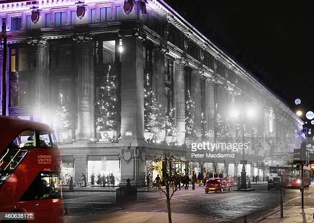 In this digital composite image a comparison has been made of London at Selfridges in 1935 and Modern Day 2014 at Christmas time LONDON ENGLAND...