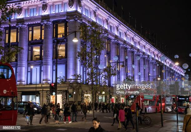 Selfridges department store is lit up for the Festive season on November 23 2017 in London England Christmas is an annual religious feast day...
