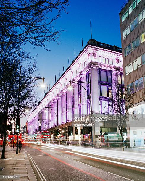 selfridges on oxford street at dusk - oxford street london stock photos and pictures