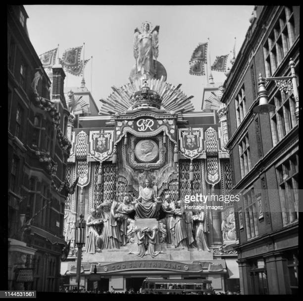 Selfridges, Oxford Street, London, decorated to mark the coronation of King George VI, 1937. View of the decorations from Balderton Street. Artist...