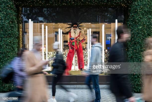 Selfridges unveil their 2018 Christmas window display 'Selfridges Rocks Christmas' at Selfridges on October 18 2018 in London England