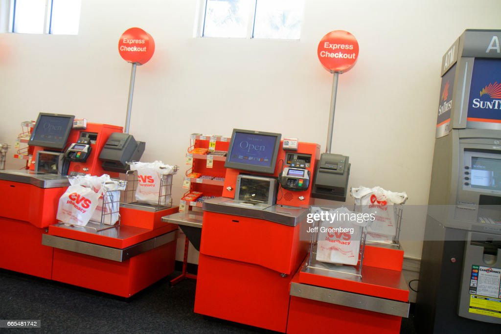 self-service check-out tills in cvs pharmacy  news photo