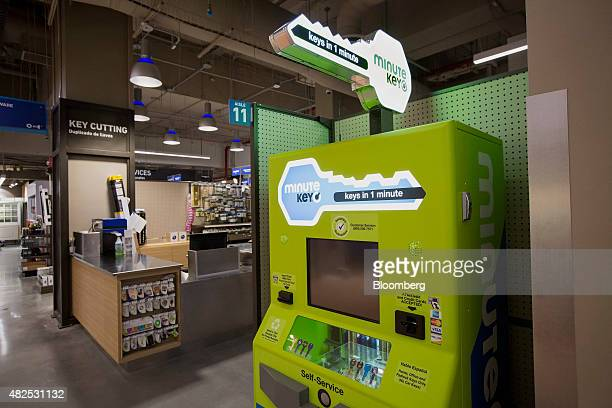 A selfservice key duplicating machine stands inside the Lowe's Cos store in New York US on Thursday July 30 2015 Lowe's will open a store that's just...