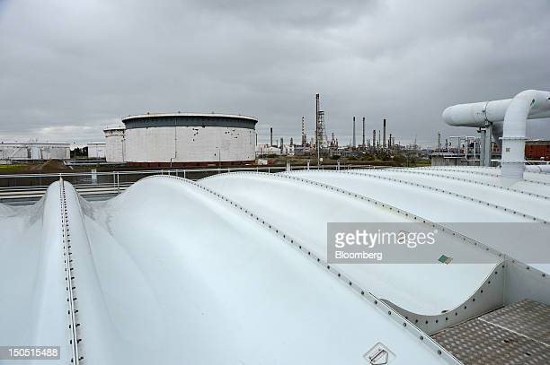 Selfsupporting seals that trap odor from wastewater taken from the neighboring Shell Australia Ltd Geelong oil refinery background stand at Barwon...