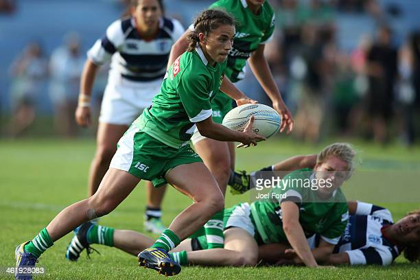 Selica Winiata of Manawatu runs with the ball during the Women's Championship Cup Final against Auckland during the NZRU National Sevens tournament...
