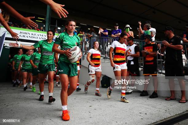 Selica Winiata of Manawatu walks out for the Bayleys National Sevens Women's Cup Final match between Manawatu and Waikato at Rotorua International...