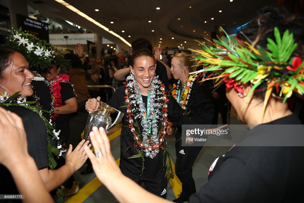 Selica Winiata of the Black Ferns dances as the New Zealand Black Ferns arrive at Auckland International Airport on August 29, 2017 in Auckland, New Zealand. New Zealand won the 2017 Women's Rugby World Cup by defeating England in the Final in Belfast.