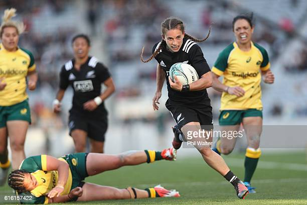 Selica Winiata of the Black Ferns runs in for a try during the international womens Test match between the New Zealand Black Ferns and the Australian...