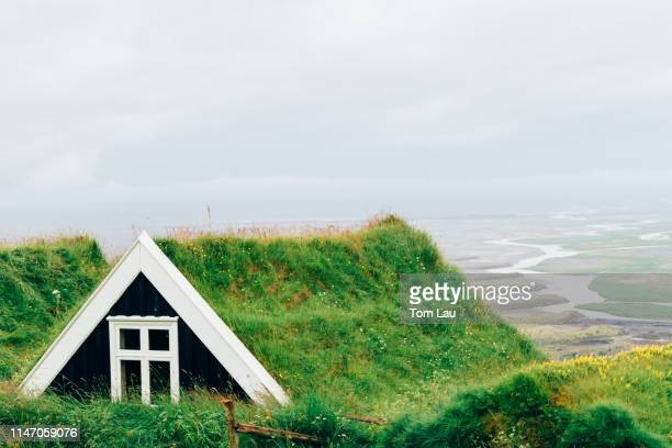 selid turf houses, skaftafell national park, iceland - skaftafell national park stock photos and pictures
