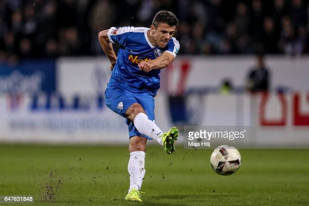 Selim Guenduez of Bochum controls the ball during the Second Bundesliga match between VfL Bochum 1848 and Fortuna Duesseldorf at Vonovia Ruhrstadion...