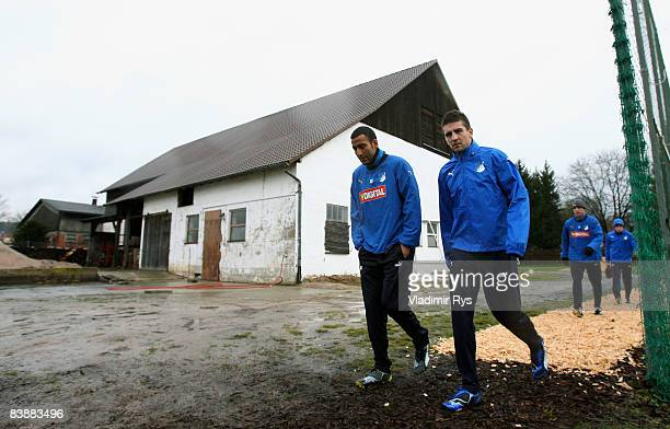 Selim Teber and Vedad Ibisevic are seen prior to the TSG 1899 Hoffenheim training session at the Hoffenheim training ground on December 2 2008 in...