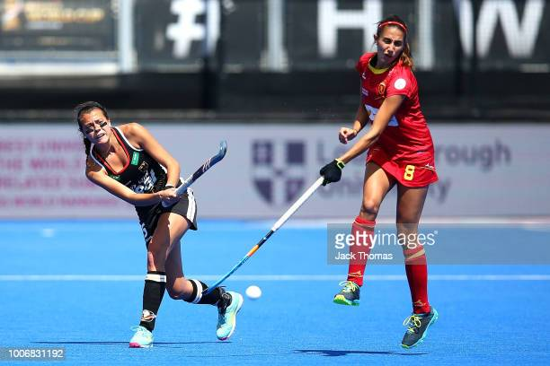 Selin Oruz of Germany and Carola Salvatrlla of Spain in action during the FIH Womens Hockey World Cup Pool C game between Spain and Germany at Lee...