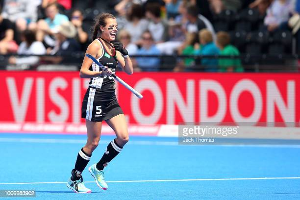 Selin Oruz of Germany celebrates scoring her sides second goal during the FIH Womens Hockey World Cup Pool C game between Spain and Germany at Lee...