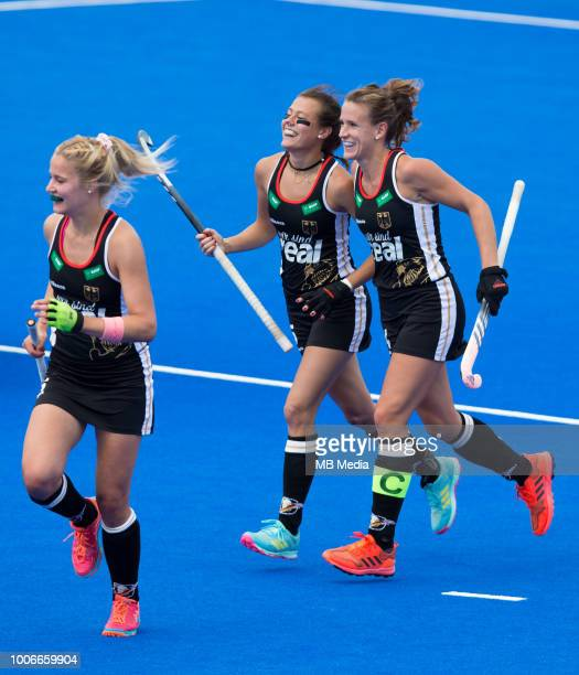 Selin Oruz of Germany celebrates with team mates after scoring her sides second goal during the Pool C game between Spain and Germany of the FIH...