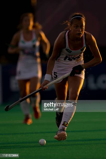 Selin Oruz of Germany controls the ball against the United States during the Women's FIH Field Hockey Pro League match between the United States and...