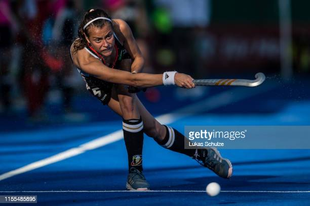 Selin Oruz of Germany controls the ball during the Women's FIH Field Hockey Pro League match between Germany and Belgium at on June 12 2019 in...