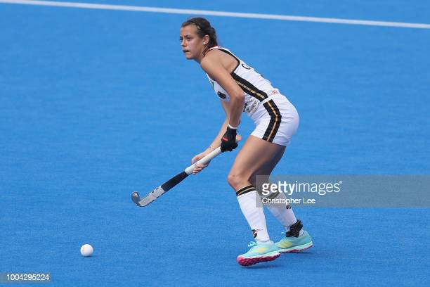 Selin Oruz of Germany in action during the Pool C game between Germany and South Africa of the FIH Womens Hockey World Cup at Lee Valley Hockey and...