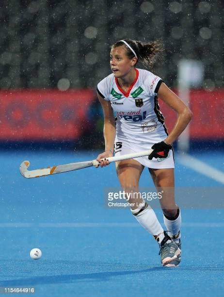 Selin Oruz of Germany in action during the Women's FIH Field Hockey Pro League match between Great Britain and Germany at Lee Valley Hockey and...