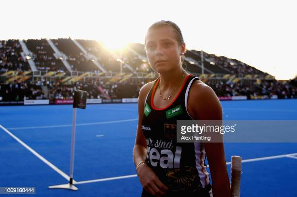 Selin Oruz of Germany leaves the field during the quarter final game between Germany and Spain of the FIH Womens Hockey World Cup at Lee Valley...