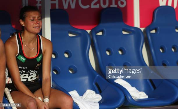 Selin Oruz of Germany looks dejected after they lose during the Quarter Final game between Germany and Spain of the FIH Womens Hockey World Cup at...