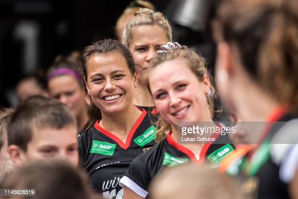 Selin Oruz of Germany smiles prior to the Women's FIH Field Hockey Pro League match between Germany and China at Hockeypark on April 28 2019 in...