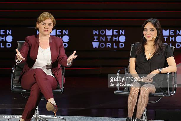 Selin Sayek Boke and Amberin Zaman speak onstage at The Fearless Women of Turkey during Tina Brown's 7th Annual Women In The World Summit at David H...