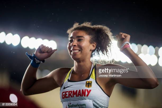 Selina Dantzler of Germany celebrates in the girls shot put final during day 1 of the IAAF U18 World Championships at Moi International Sports Centre...