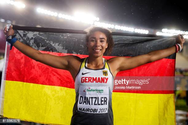 Selina Dantzler of Germany poses after winning the girls shot put final during day 1 of the IAAF U18 World Championships at Moi International Sports...