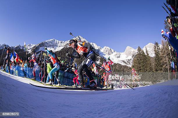 Selina Gasparin of Switzerland competes during the 4x6 km women's Relay on January 22 2017 in AntholzAnterselva Italy