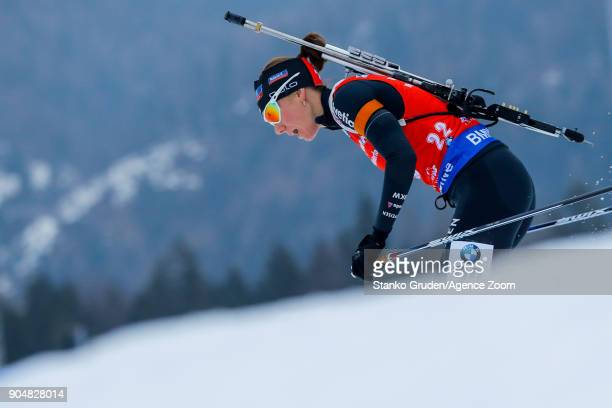 Selina Gasparin of Switzerland in action during the IBU Biathlon World Cup Men's and Women's Mass Start on January 14 2018 in Ruhpolding Germany