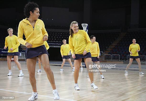 Selina Gilsenan and Natasha Chokljat of Australia runs through a team dance during the Australian netball team training session at the Vector Arena...
