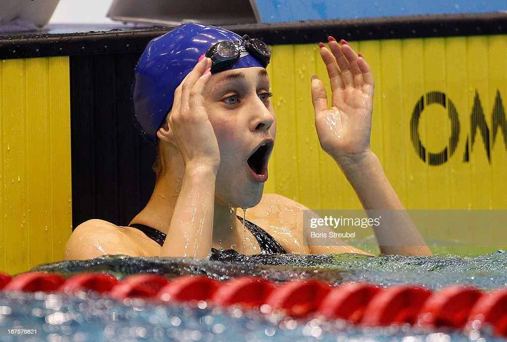 Selina Hocke of SwC Berlin reacts after winning the women's 50m backstroke A final during day one of the German Swimming Championship 2013 at the Eurosportpark on April 26, 2013 in Berlin, Germany.