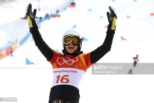 Selina Jorg of Germany celebrates during the Ladies' Snowboard Parallel Giant Slalom Semifinal on day fifteen of the PyeongChang 2018 Winter Olympic...