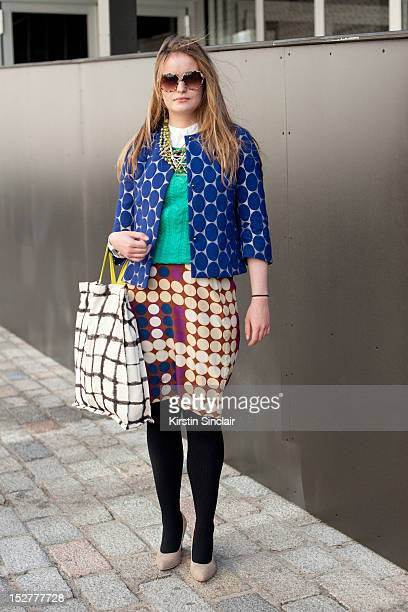 Selina Rowe fashion writer wearing H and M shoes and bag Marni for H and M skirt and jacket H and M jumper Topshop for Anthroplogie Necklace and...